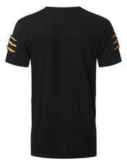 BLACK Embroidered Short Sleeve T-shirt - URBANCREWS