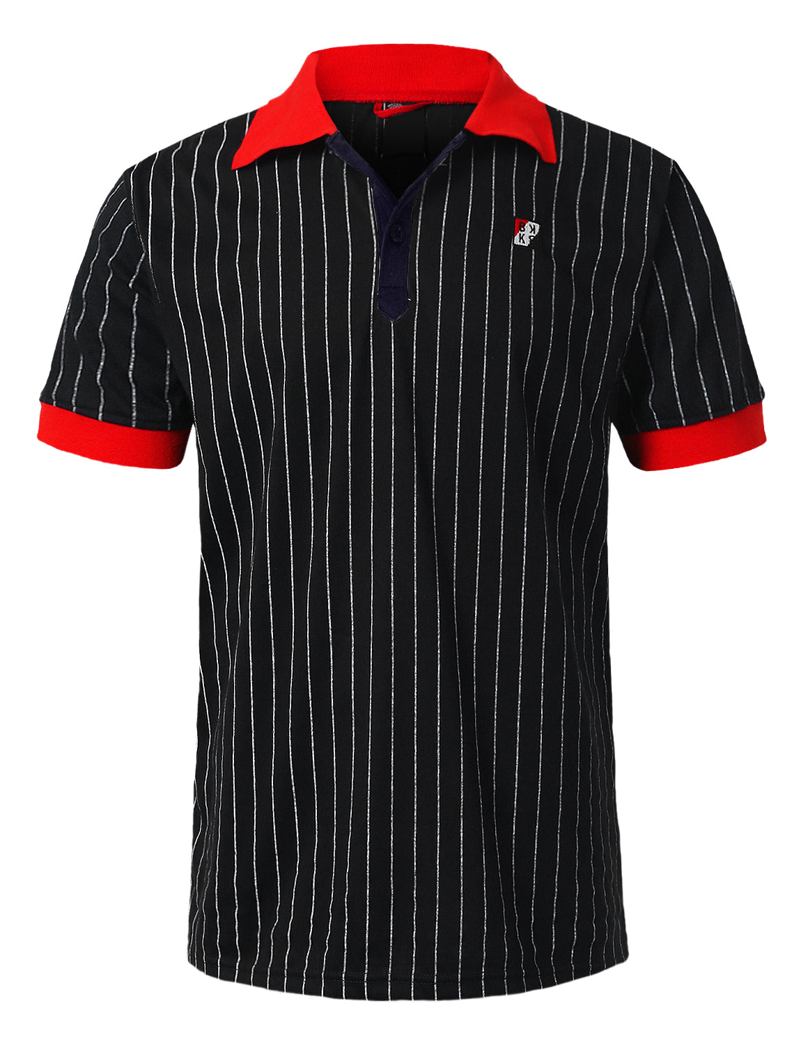 BLACK Classic Striped Polo T-shirt - URBANCREWS