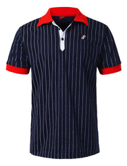 NAVY Classic Striped Polo T-shirt - URBANCREWS
