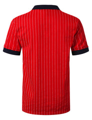 RED Classic Striped Polo T-shirt - URBANCREWS