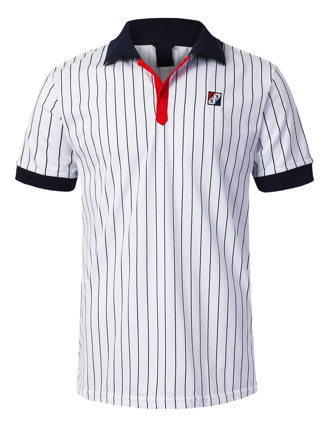 WHITE Classic Striped Polo T-shirt - URBANCREWS
