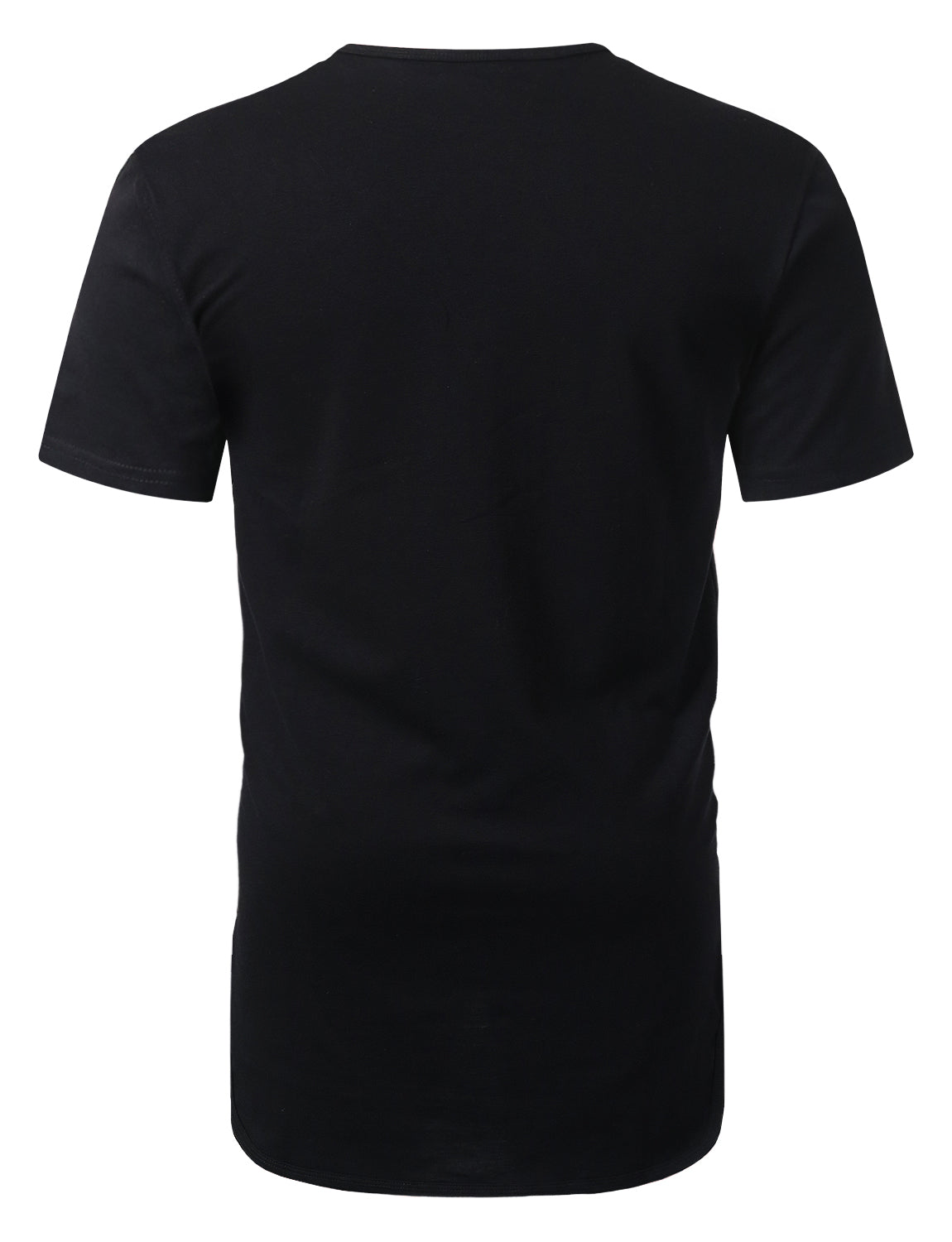 BLACK Crewneck Basic Longline T-shirt - URBANCREWS