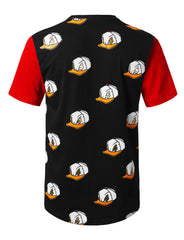 BLACK Allover Duck Printed Longline T-shirt - URBANCREWS