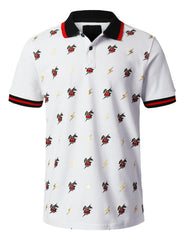 WHITE Thunder Printed Pique Polo T-shirt - URBANCREWS