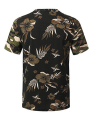 BLACK Camouflage Floral Print Pocket T-shirt - URBANCREWS