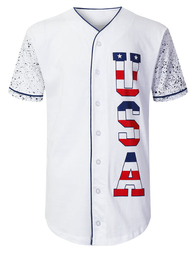 USA Flag Logo Baseball Jersey Shirts