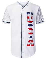 NAVY USA Flag Logo Baseball Jersey Shirts - URBANCREWS