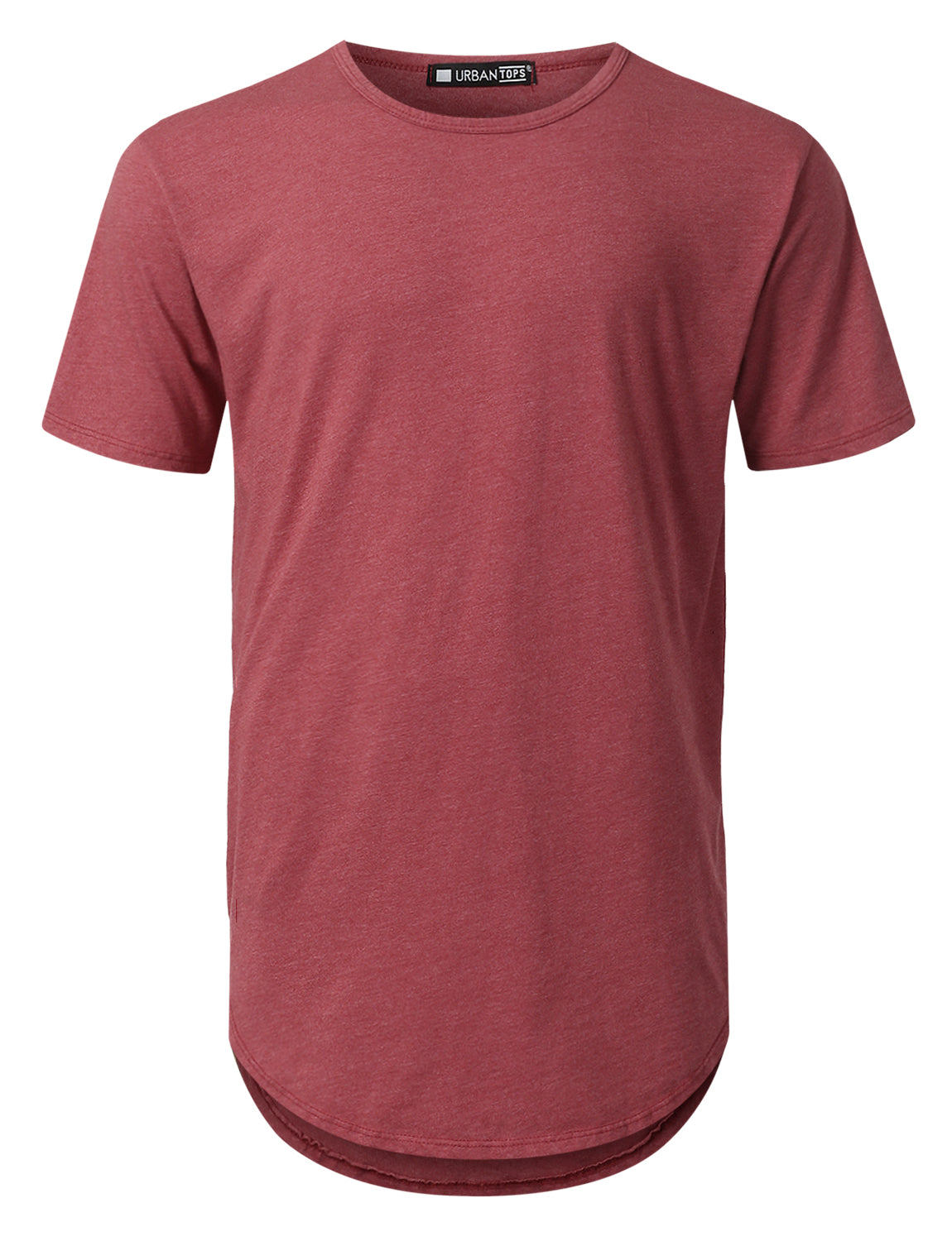 BURGUNDY Basic Poly Cotton Longline T-shirt - URBANCREWS