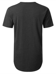 CHARCOAL Basic Poly Cotton Longline T-shirt - URBANCREWS