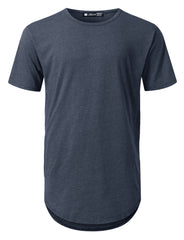 NAVY Basic Poly Cotton Longline T-shirt - URBANCREWS