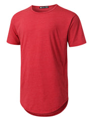 RED Basic Poly Cotton Longline T-shirt - URBANCREWS