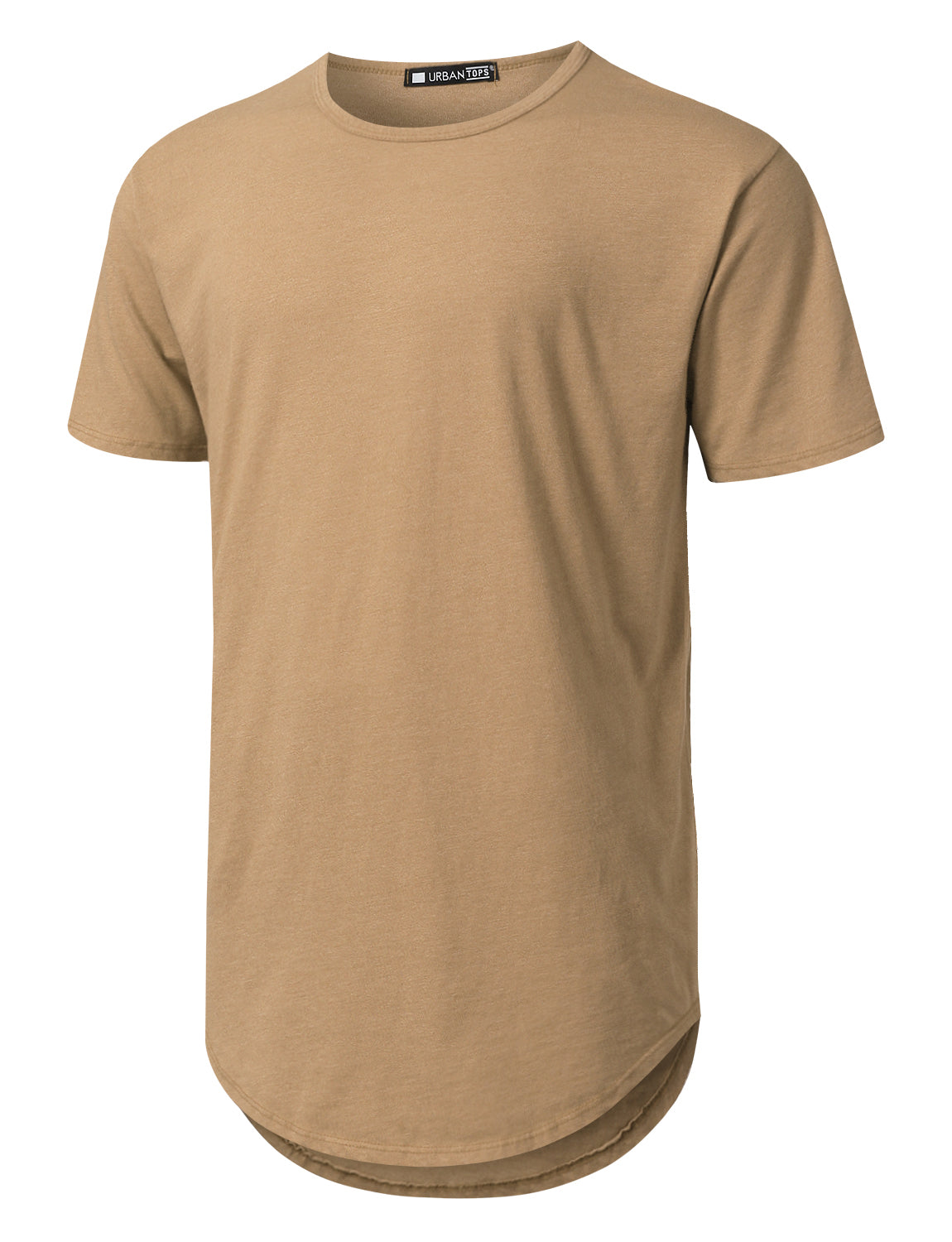 TAN Basic Poly Cotton Longline T-shirt - URBANCREWS