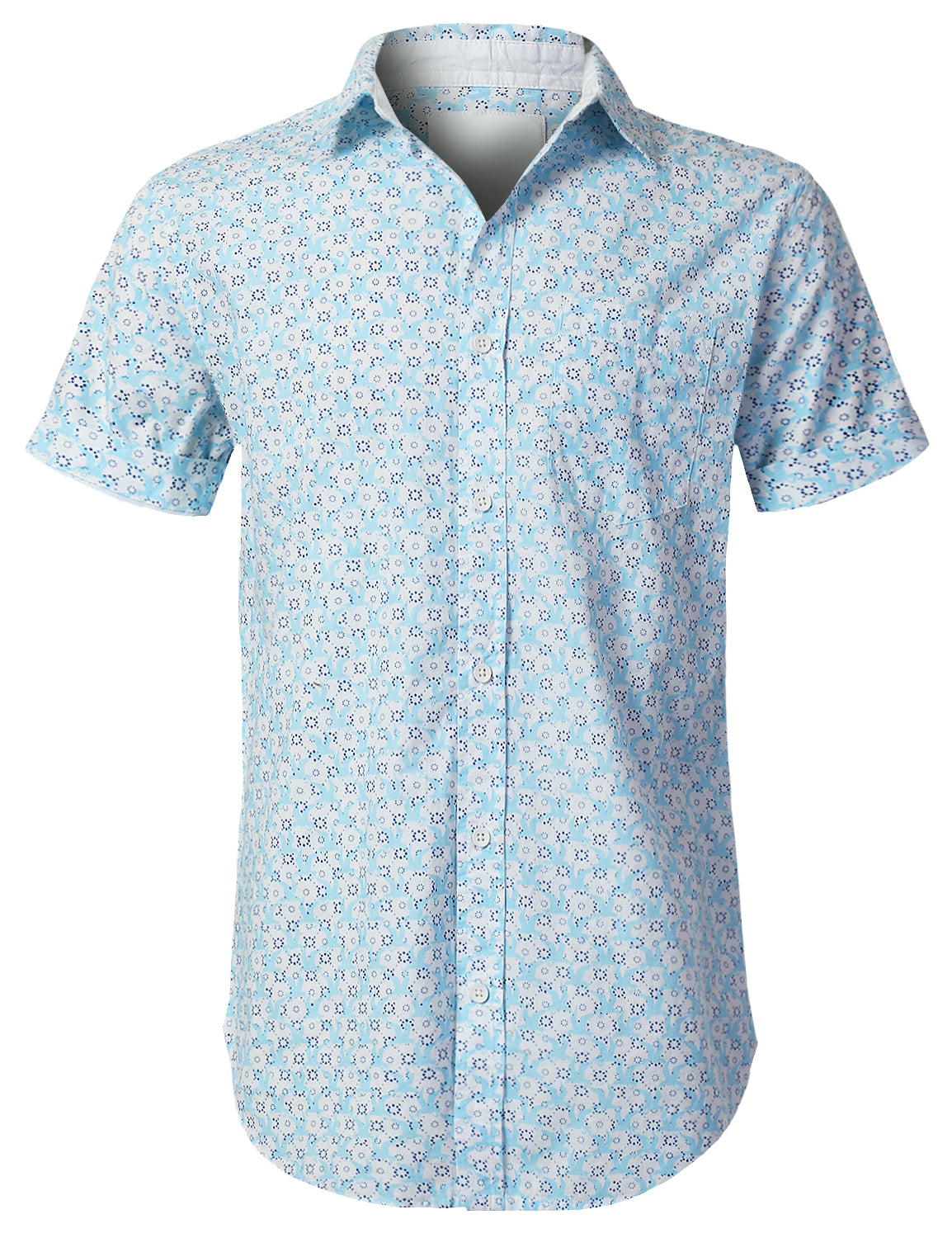 BLUE Patterned Graphic Button Down Shirt - URBANCREWS