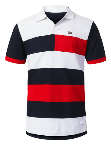 Cut and Sewn Striped Polo T-shirt