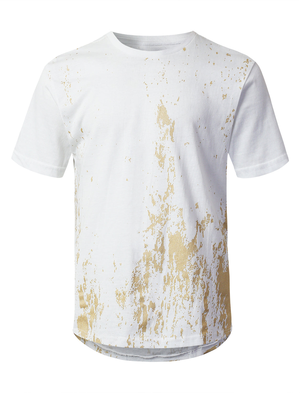 WHITE Gold Grunge Printed T-shirt - URBANCREWS