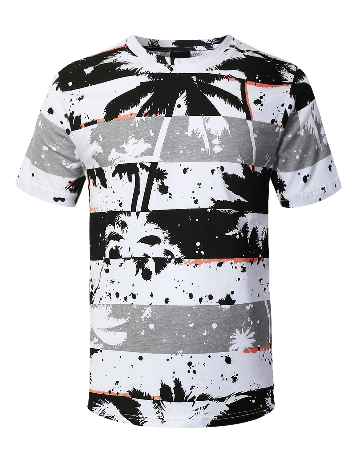 BLACK Palm Tree Striped Print T-shirt - URBANCREWS
