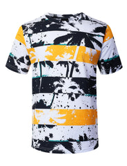 NAVY Palm Tree Striped Print T-shirt - URBANCREWS