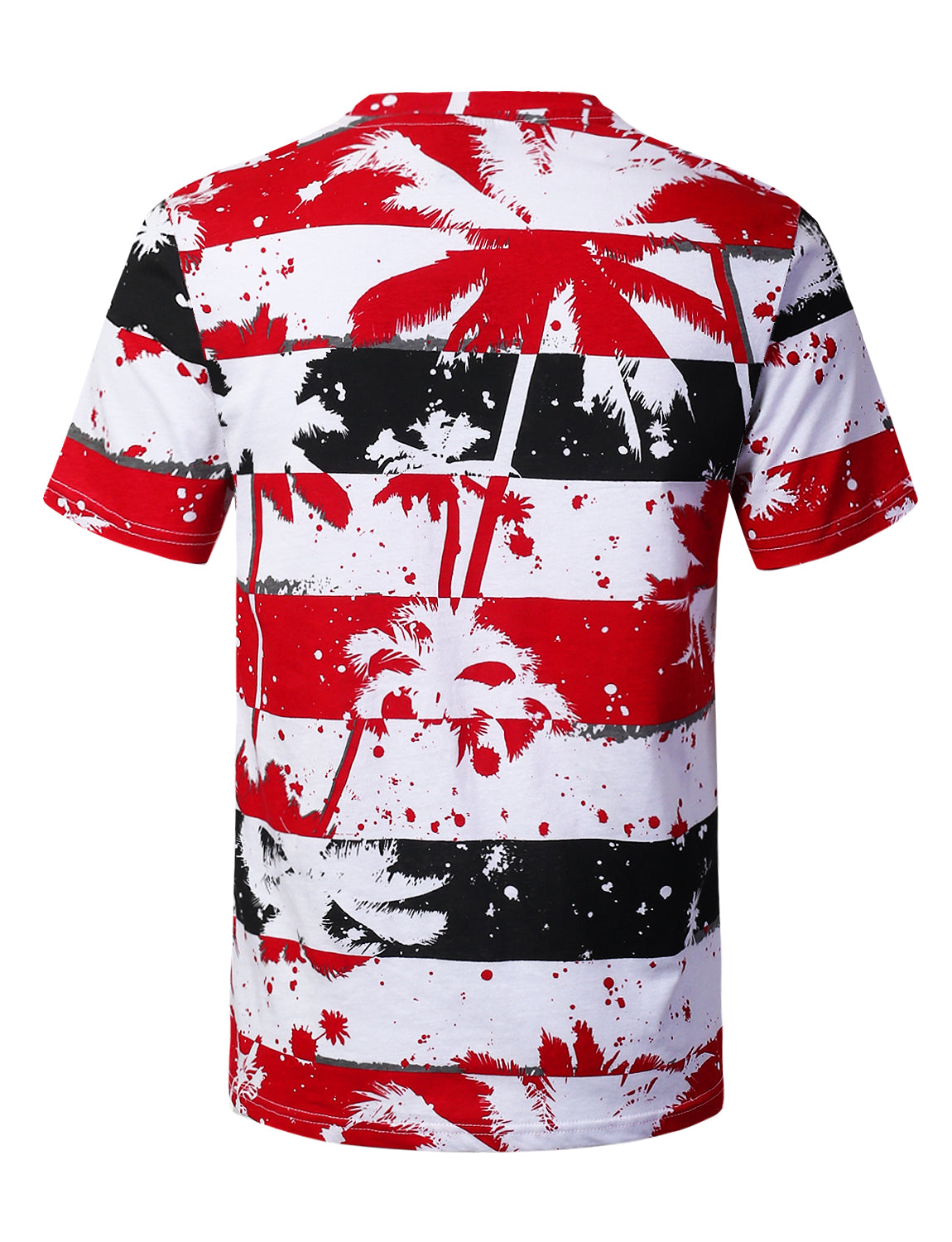 RED Palm Tree Striped Print T-shirt - URBANCREWS