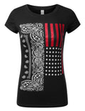 BLACK Paisley USA Flag T-Shirts - URBANCREWS