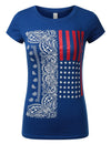 BLUE Paisley USA Flag T-Shirts - URBANCREWS