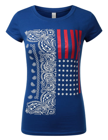 Womens Vetical Paisley USA Flag T-shirts