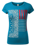 TURQUOISE Paisley USA Flag T-Shirts - URBANCREWS