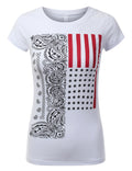 WHITE Paisley USA Flag T-Shirts - URBANCREWS