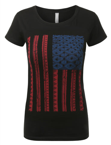 Womens Vetical USA Flag T-shirts Vintage