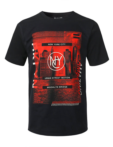 NYC Red Film Graphic Print T-shirt