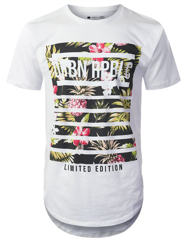 Striped Floral Print Longline T-shirt