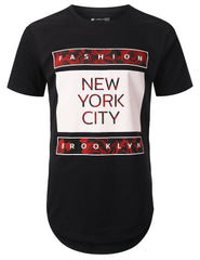 BLACK Fashion NYC Print Longline T-shirt - URBANCREWS