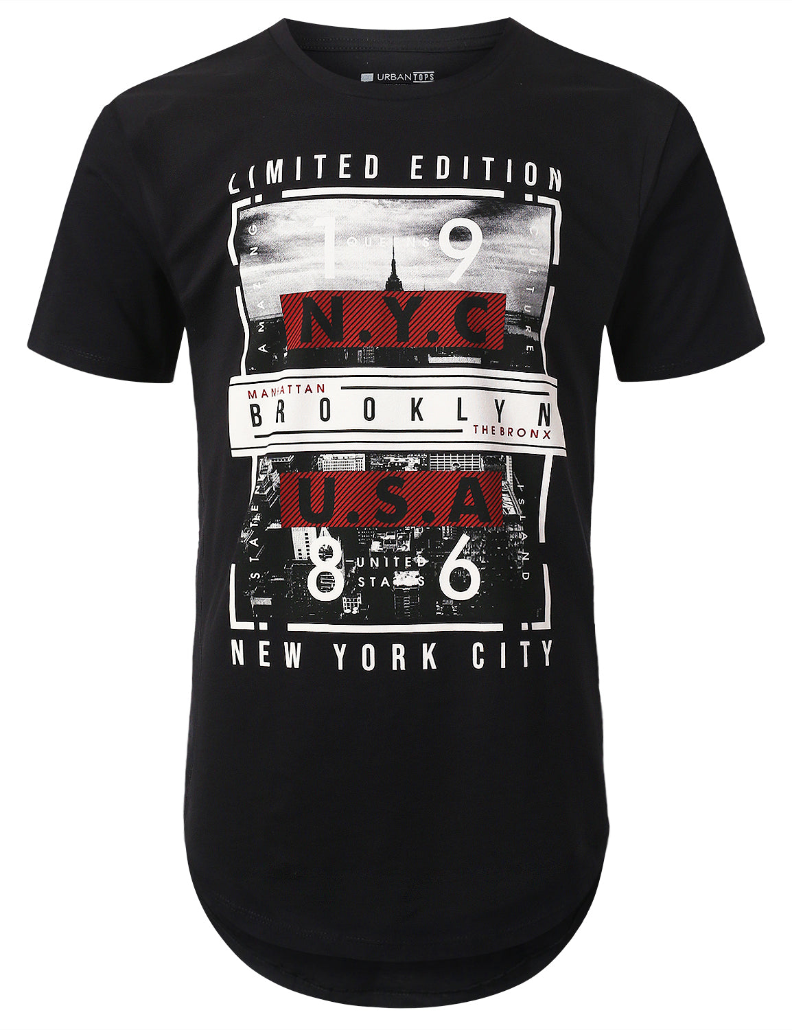 BLACK NYC 1986 Print Longline T-shirt - URBANCREWS