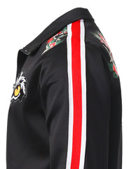 BLACK Tiger Eyes Zip-Up Track Jacket - URBANCREWS