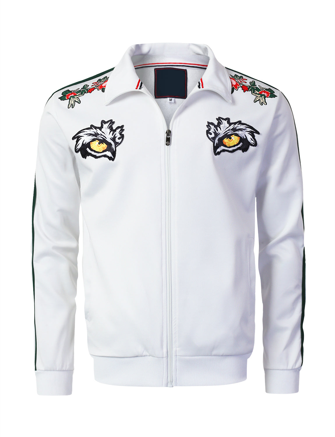 WHITE Tiger Eyes Zip-Up Track Jacket - URBANCREWS