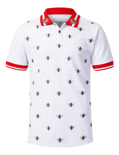 Bee Pattern Print Polo T-shirt