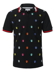 BLACK Pop Color Bee Embroidered Polo T-shirt - URBANCREWS