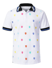 WHITE Pop Color Bee Embroidered Polo T-shirt - URBANCREWS