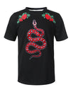 BLACK Serpent Patch Graphic T-shirt - URBANCREWS