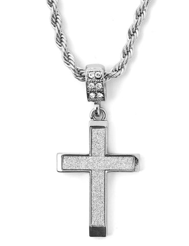 "Hip Hop Cross Micro Pendant 24"" Chain Necklace in Silver"