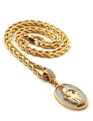 "Hip Hop Mother Mary Micro Pendant 24"" Chain Necklace in Gold"