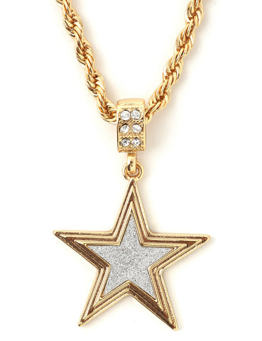 "Hip Hop Star Micro Pendant 24"" Chain Necklace in Gold"