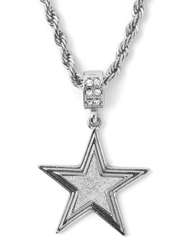 "Hip Hop Star Micro Pendant 24"" Chain Necklace in Silver"
