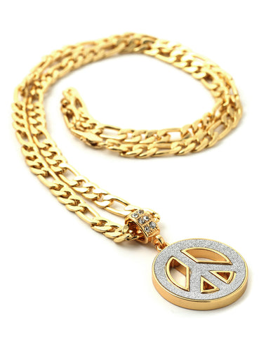 "Hip Hop Peace Sign Micro Pendant 24"" Chain Necklace in Gold"
