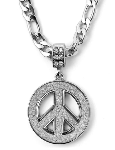 "Hip Hop Peace Sign Micro Pendant 24"" Chain Necklace in Silver"