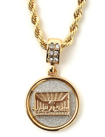 "Hip Hop Last Supper Micro Pendant 24"" Chain Necklace in Gold"