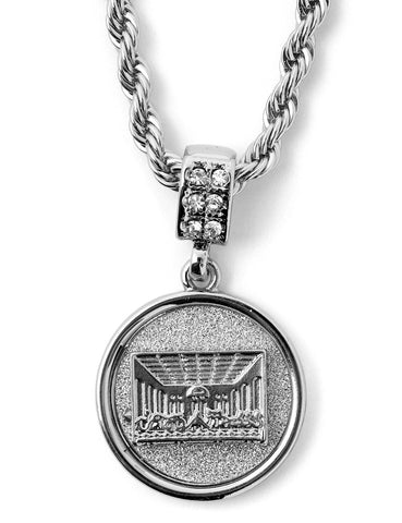 "Hip Hop Last Supper Micro Pendant 24"" Chain Necklace in Silver"