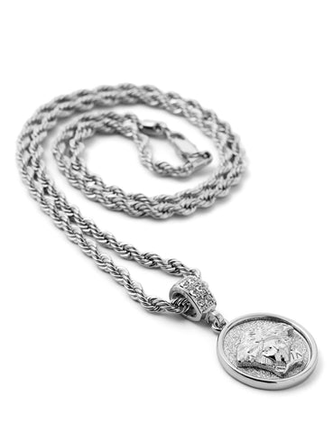 "Hip Hop Medusa Micro Pendant 24"" Chain Necklace in Silver"