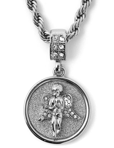 "Hip Hop Angel Micro Pendant 24"" Chain Necklace in Silver"