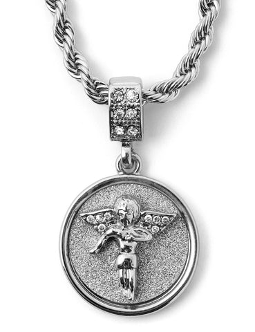 "Hip Hop Fallen Angel Micro Pendant 24"" Chain Necklace in Silver"