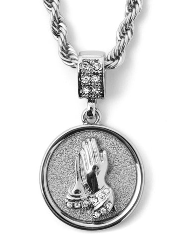 "Hip Hop Praying Hands Micro Pendant 24"" Chain Necklace in Silver"